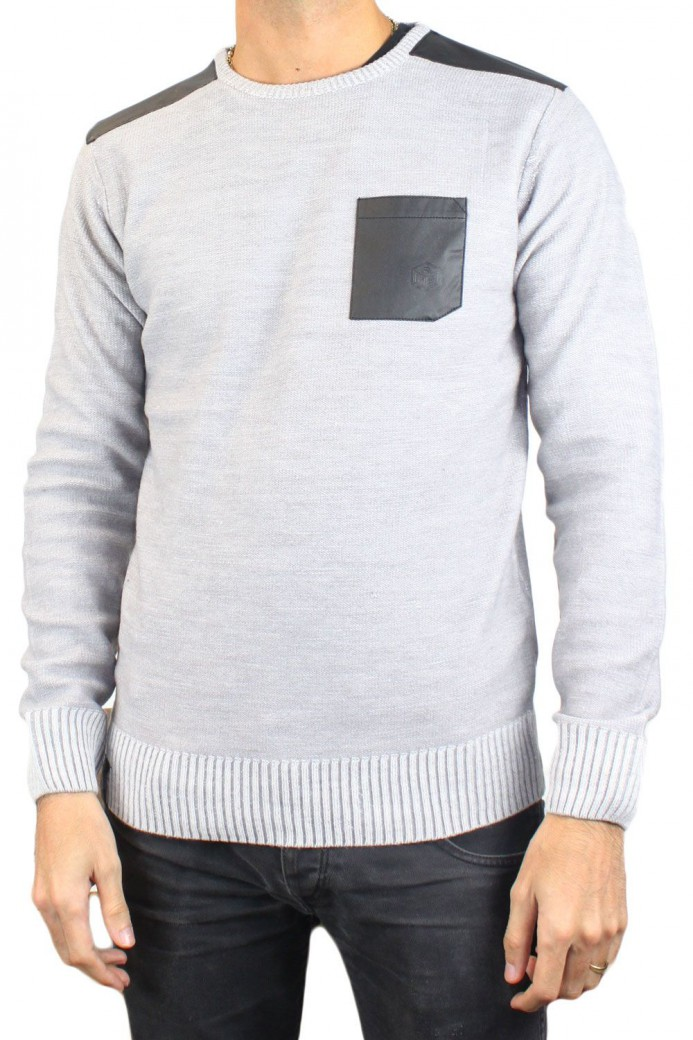 Pull blanc col rond RM60459