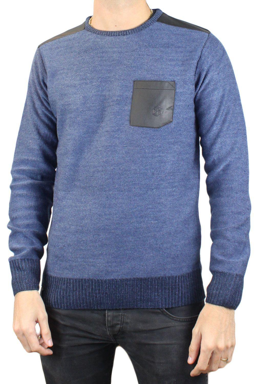 Pull bleu col rond RM60459