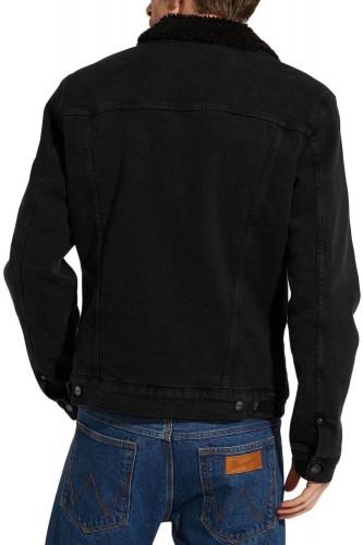 Blouson en jeans sherpa noir