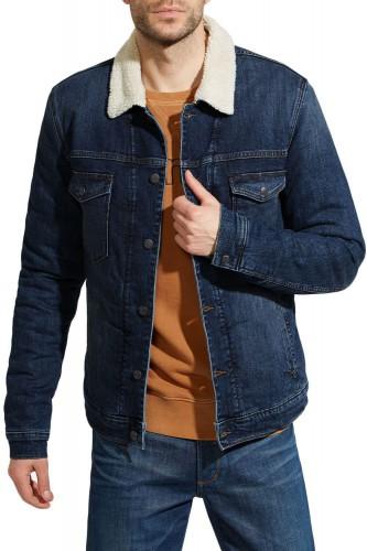 Blouson en jeans sherpa bleu