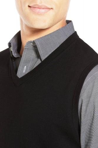 Pull debardeur en laine noir