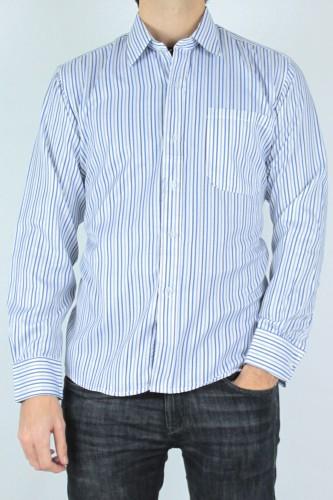 Chemise à rayures blanc et bleu