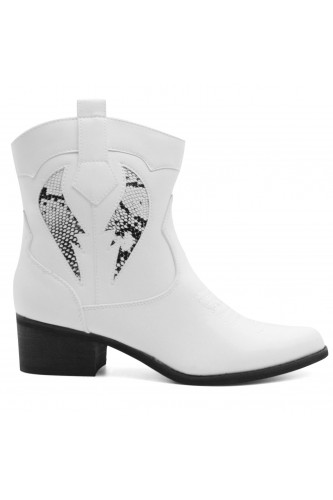 Bottines santiags blanches pythons