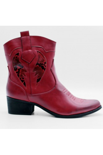 Bottines santiags rouges pythons