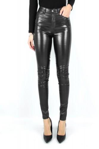 Jeans Slim simili cuir à paillettes noir