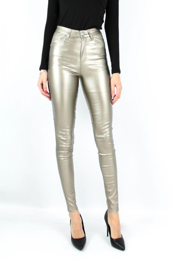 Jeans Slim simili cuir à paillettes doré