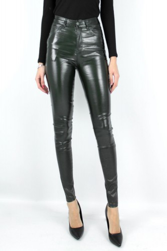Jeans Slim simili cuir à paillettes kaki