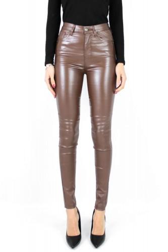 Jeans Slim simili cuir à paillettes marron