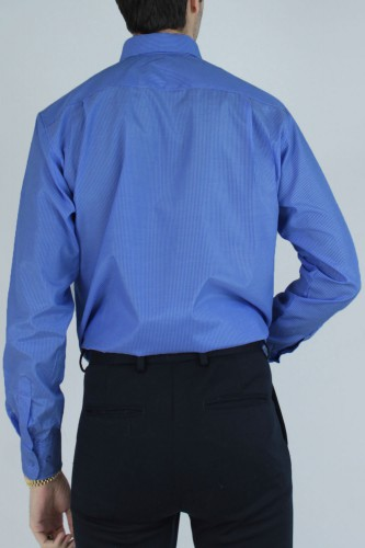 Chemise col boutons à rayures bleu