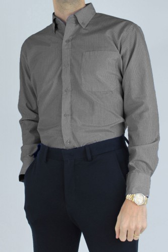 Chemise col boutons à rayures gris