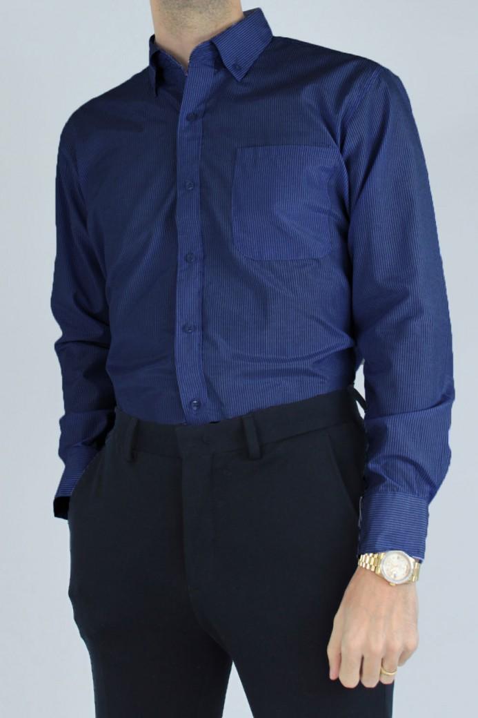Chemise col boutons à rayures bleu marine
