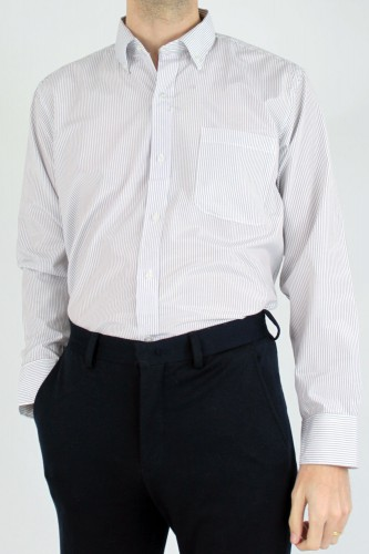 Chemise col boutons à rayures blanche