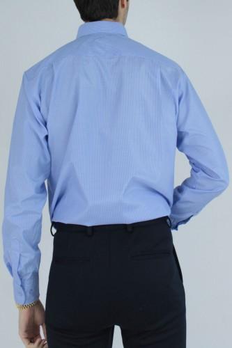 Chemise col boutons à rayures bleu ciel