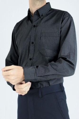 Chemise col boutons à rayures noir