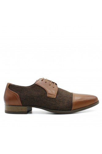 Derbies bi-matière aspect denim marron