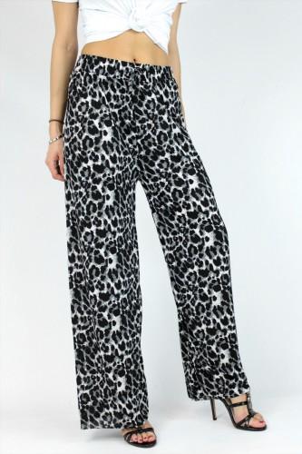 Pantalon coupe large à motifs léopard