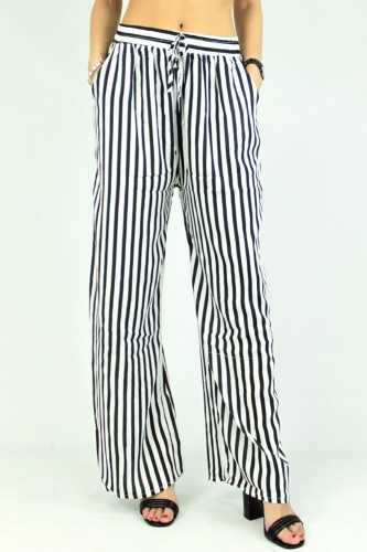 Pantalon large rayé, en coton