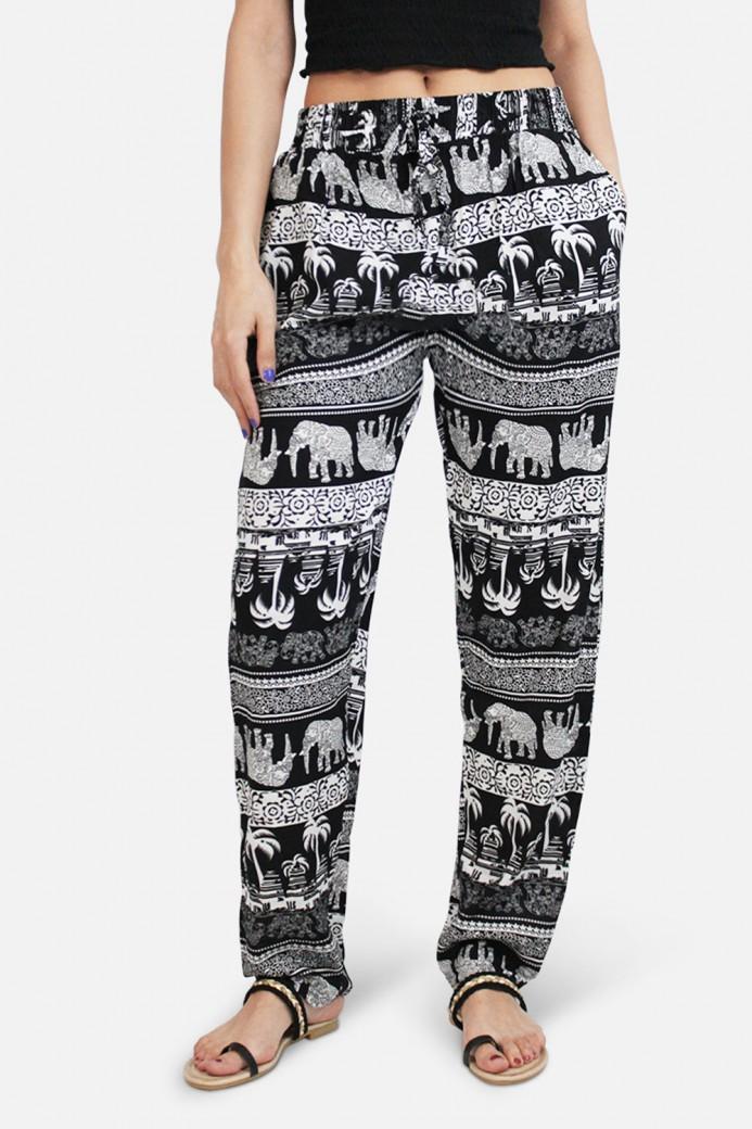 Pantalon fluide, imprimé animalier, en coton