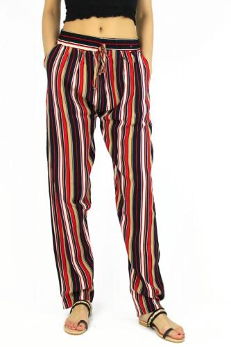 Pantalon imprimé fluide, en coton