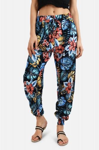 Pantalon fluide, imprimé floral, en coton