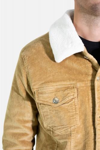 Veste en velours côtelée sherpa