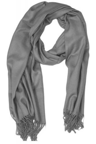 Echarpe uni en Laine de couleur gris