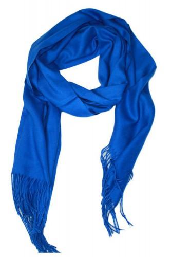 Echarpe uni en Laine de couleur bleu