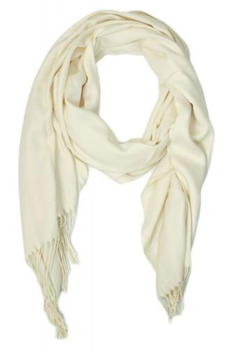 Echarpe uni en Laine de couleur blanche