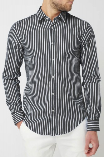 Chemise à rayures anthracites