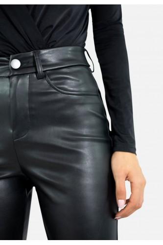 Pantalon flare en simili
