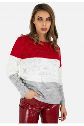 Pull col rond grosse maille