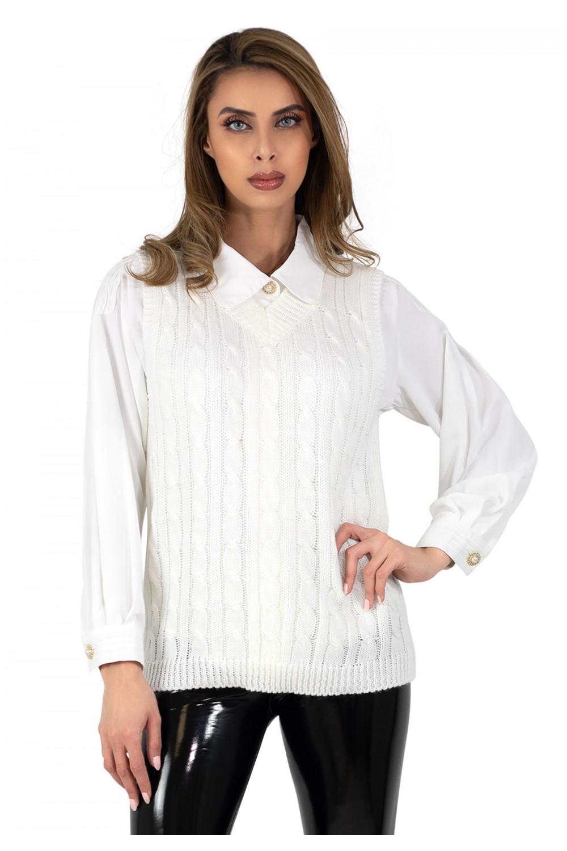 Pull sans manches en tricot torsadé