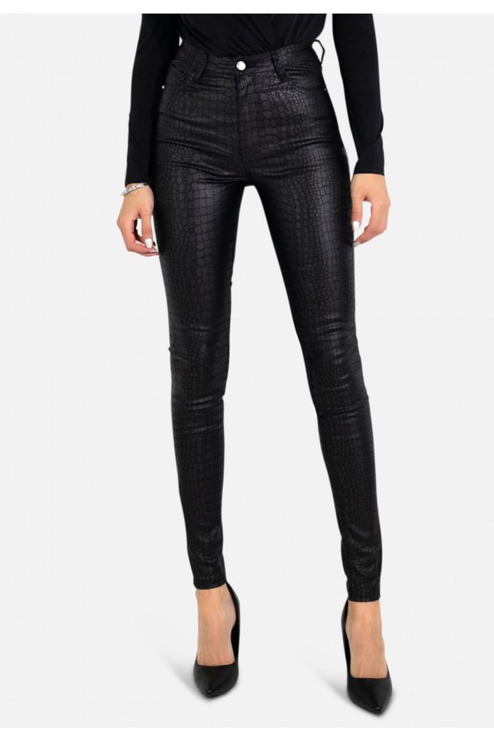Jeans similicuir croco
