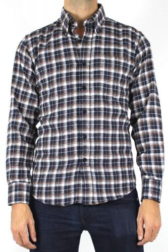 Chemise marron à carreaux aspect laine