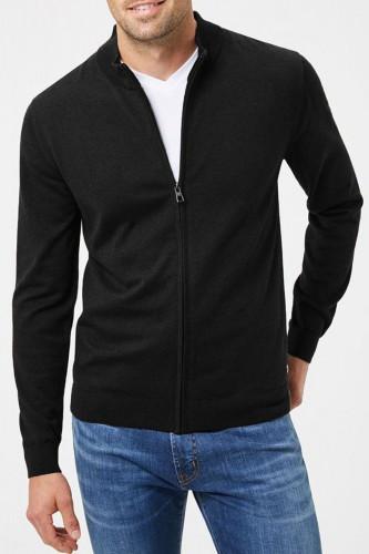 Pull zippé cardigan en laine noir