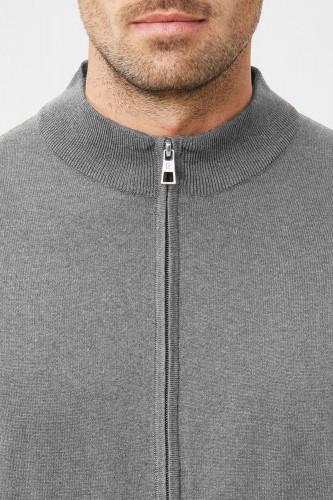Pull zippé cardigan en laine gris