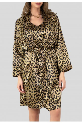 Kimono en satin motifs léopard