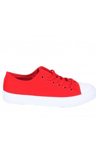 Baskets basses rouge en toile