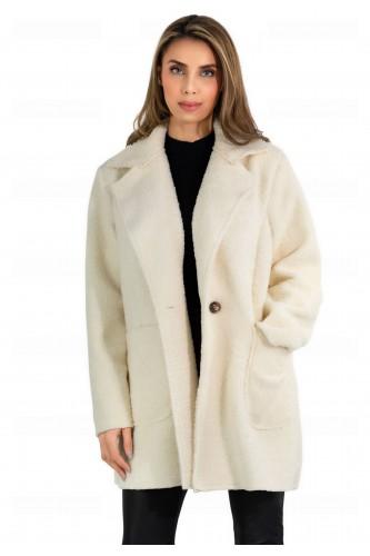 Manteau molletonné double boutonnage