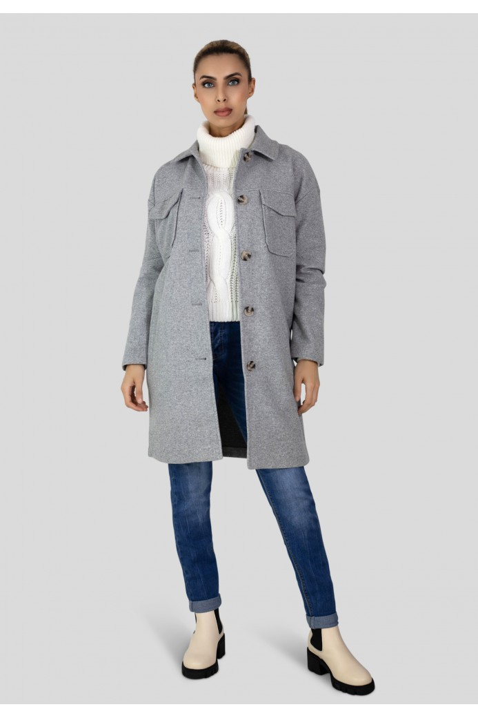 Manteau droit boutonné